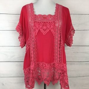 Johnny Was Crochet Lace Pink Blouse